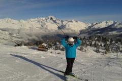ski face au Mont Blanc