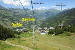 emplacement de nos chalet dans la station et son environnement : Mont Blanc et Italie